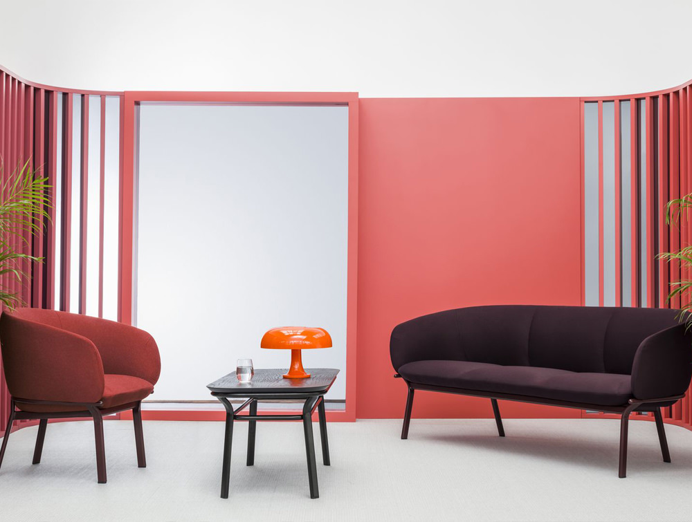 Grace Armchair on 4 Legged Base with Red Finish and Black Table