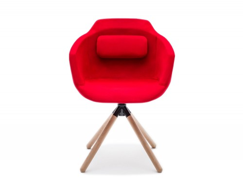 Ultra FW Armchair with Red Upholstered Finish and Back Cushion