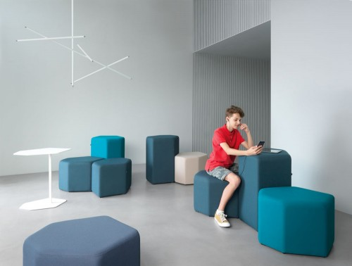 Bazalto Modular Low and High Pouffes Set for Breakout Rooms