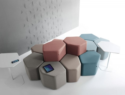 Bazalto Modular Low and High Pouffes Set with Brown Finish and Meeting Table