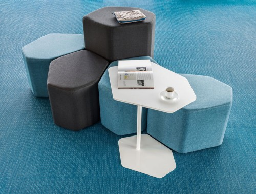 Bazalto Modular Low and High Pouffes Set with Elegant Black Finish and Coffee Table