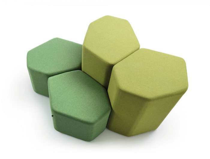 Bazalto Modular Low and High Pouffes Set with Lime Green Finish
