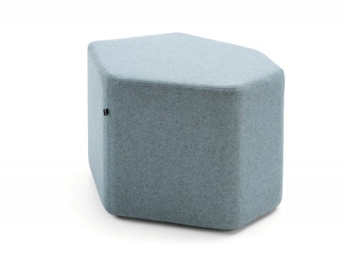 Bazalto Modular Pouffe with Low Height and Light Grey Finish