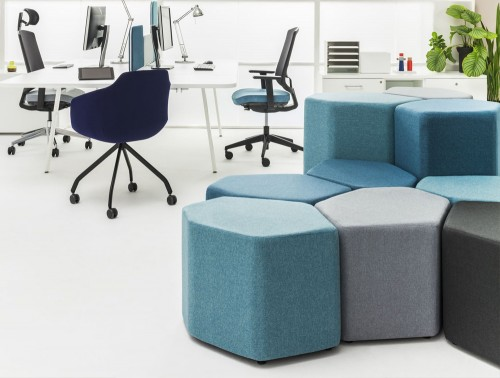 Bazalto Modular Pouffes with Light Blue Finish for Open Workspace