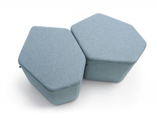 Bazalto Modular Pouffes with Light Grey Finish and Metal Bindings