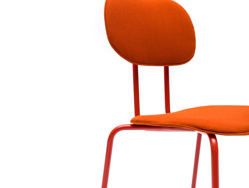 MDD New School Chair in Orange Upholstery FInish