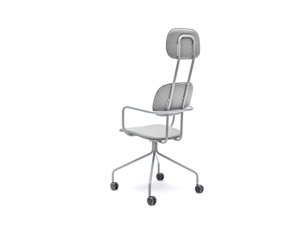 MDD New School High Back Chair Swivel Castor Wheels in Silver Upholstery with Metal Frame