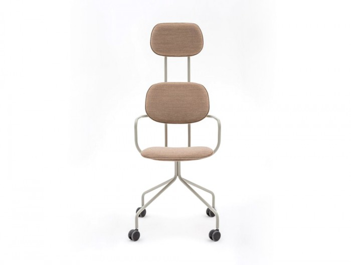 MDD New School High Back Chair Swivel Castor Wheels in Wooden Finish and Metal Legs