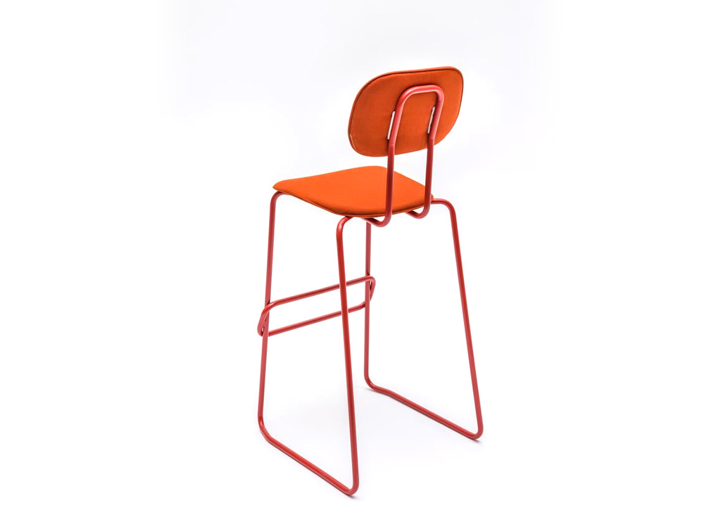 MDD New School High Sled Chair in Orange Upholstery and Foot Rest