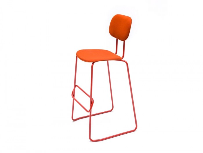 MDD New School High Sled Chair in Orange Upholstery with Back Rest