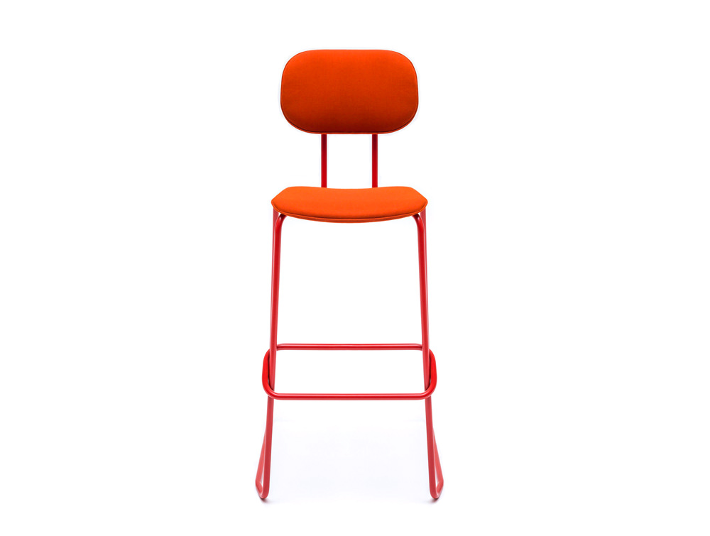 MDD New School High Sled Chair in Orange Upholstery