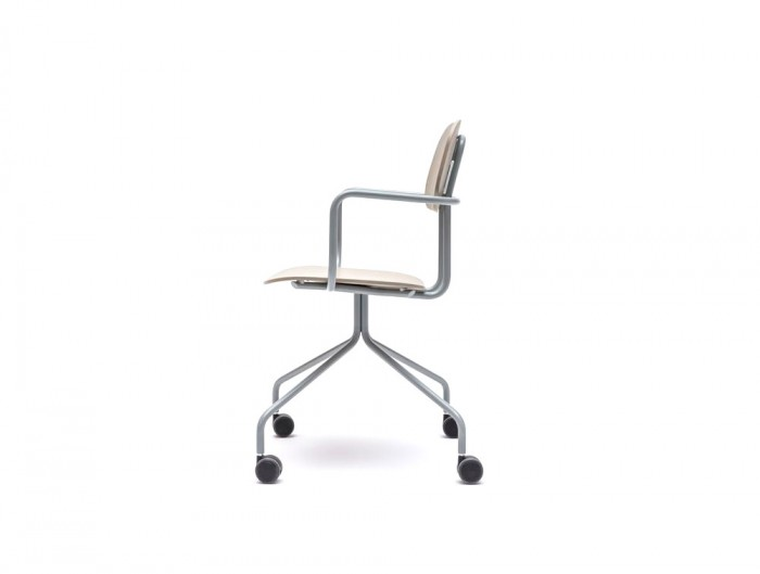 MDD New School Swivel Castor Wheel Chair in Light Wood Finish with Metal Legs