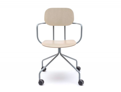 MDD New School Swivel Castor Wheel Chair in Light Wood Finish