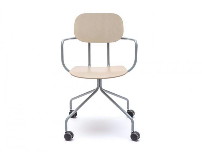 MDD New School Swivel Castor Wheel Chair in Light Wood Finish