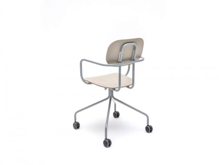 MDD New School Swivel Castor Wheel Chair in Light Wooden Finish