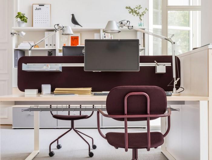MDD New School Swivel Castor Wheel Chair in Purple Metal Frame with Desk