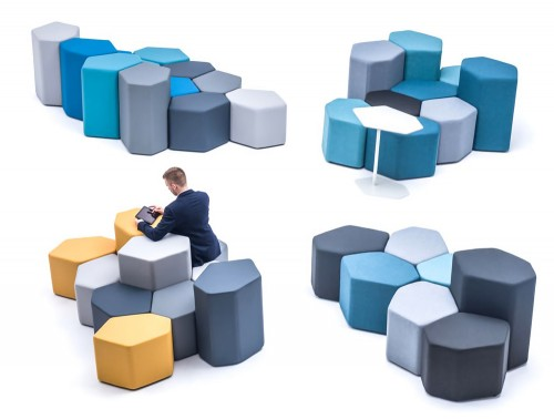 Bazalto Modular Pouffes Example Configurations with Yellow and Grey Fabrics big