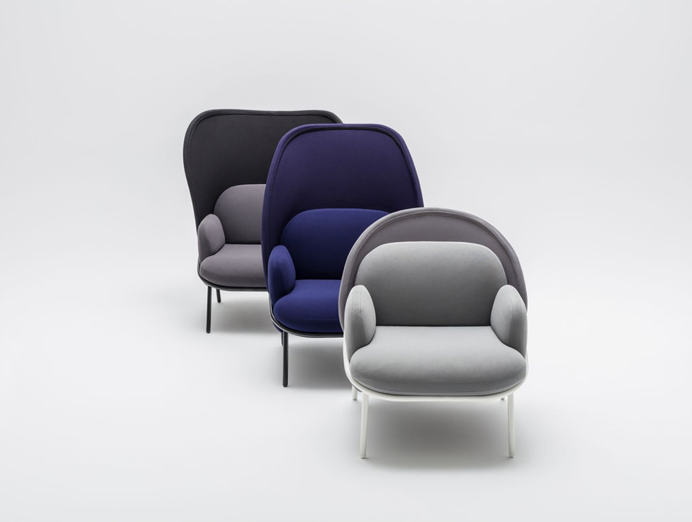 Mesh Armchair with High Shield and Bright Purple Finish