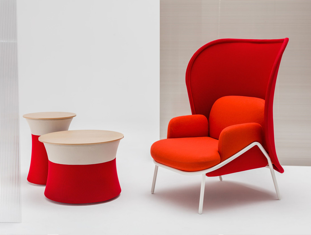 Mesh Armchair with High Shield and Bright Red Finish and Coffee Table