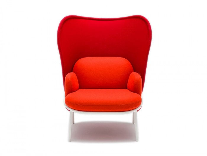 Mesh Armchair with High Shield and Bright Red Finish