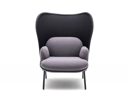 Mesh Armchair with High Shield and Elegant Grey Finish