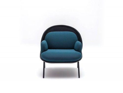 Mesh Armchair with Low Shield and Black Metal Base