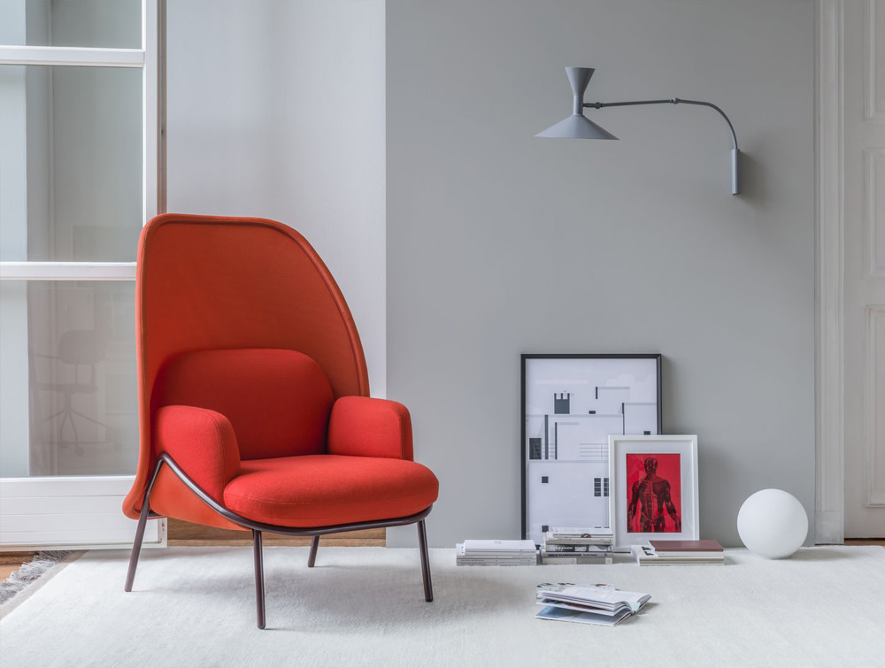 Mesh Armchair with Medium Shield and Orange and Red Finish and Metal Frame