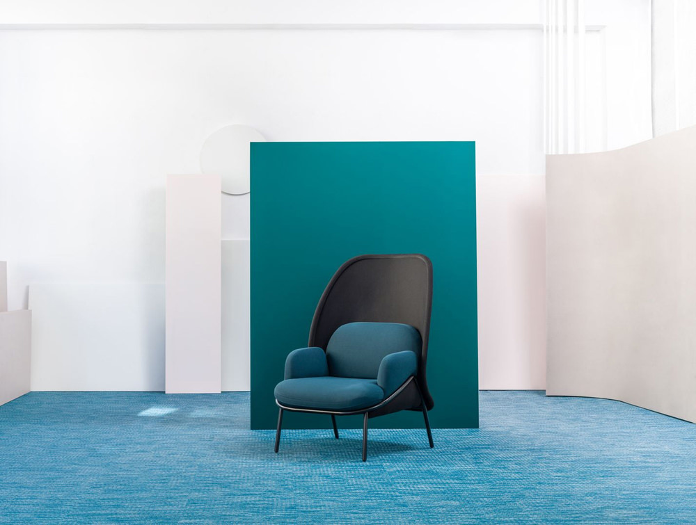 Mesh Armchair with Medium Shield and Turquoise Finish and Black Metal Frame