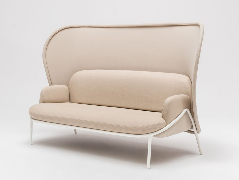 Mesh Sofa with High Shield in Beige Upholstred Finish with White Frame
