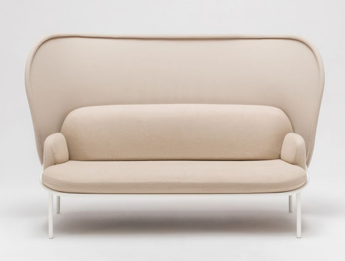Mesh Sofa with High Shield in Beige Upholstred Finish with White Legs