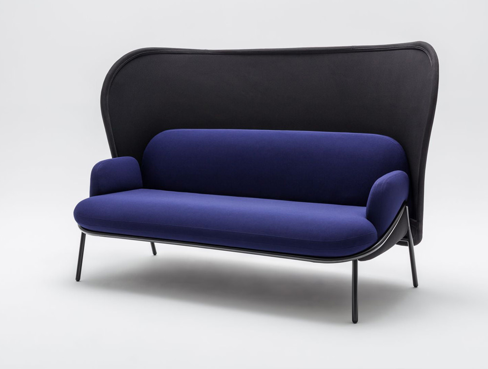 Mesh Sofa with High Shield in Purple and Black Upholstred Finish with Black Frame