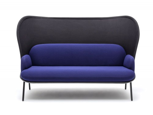 Mesh Sofa with High Shield in Purple and Black Upholstred Finish with Black Legs