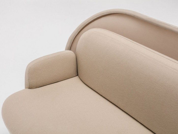 Mesh Sofa with Low Shield in Beige Upholstred Finish with Mesh Material