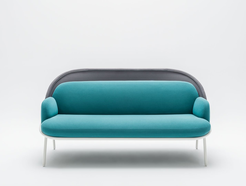 Mesh Sofa with Low Shield in Bright Blue Upholstred Finish with White Metal Frame