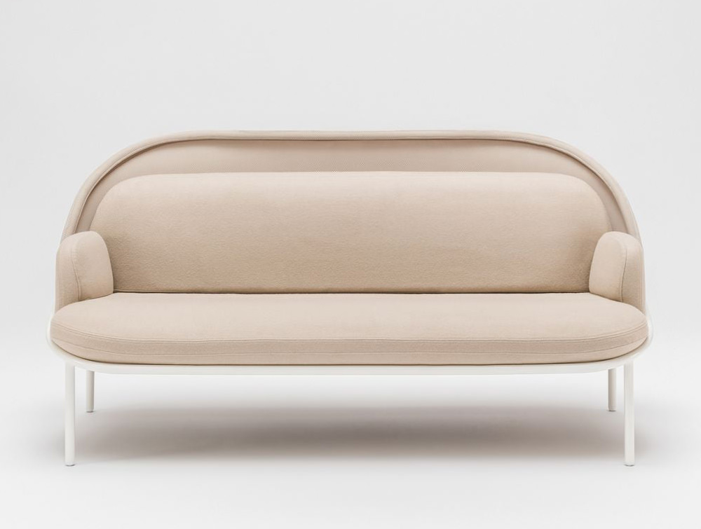 Mesh Sofa with Low Shield in Elegant Beige Upholstred Finish with White Frame