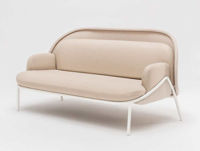 Mesh Sofa with Low Shield in Elegant Beige Upholstred Finish with White Metal Frame