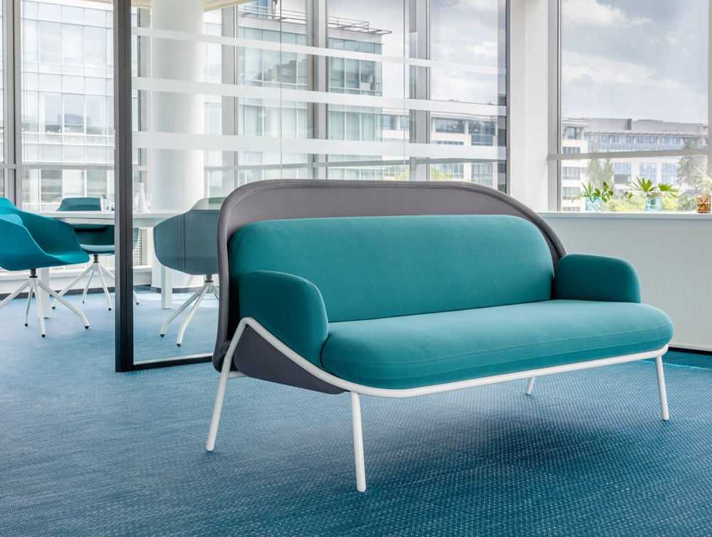 Mesh Sofa with Low Shield in Light Blue and Grey Upholstred Finish with White Legs