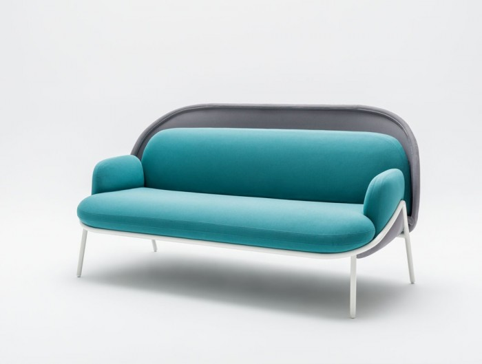 Mesh Sofa with Low Shield in Light Blue Upholstred Finish with White Metal Frame