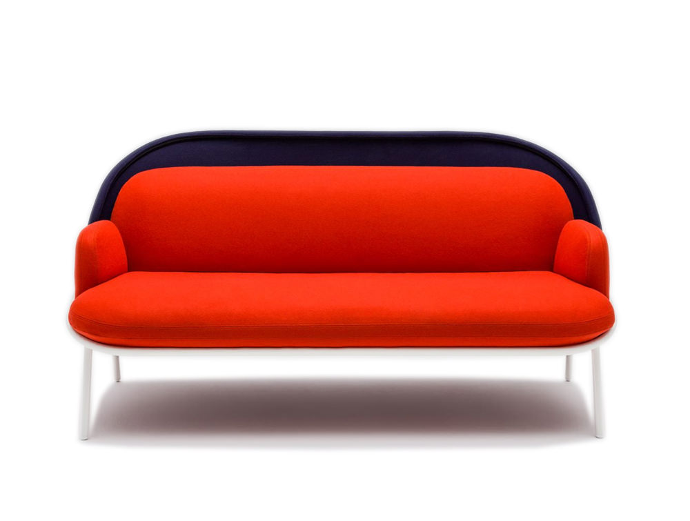 Mesh Sofa with Low Shield in Red and Blue Upholstred Finish with White Legs