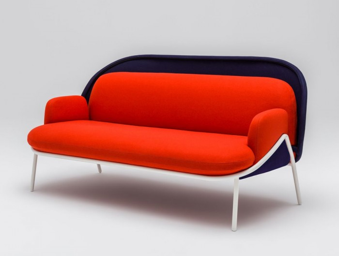 Mesh Sofa with Low Shield in Red and Blue Upholstred Finish with White Metal Frame