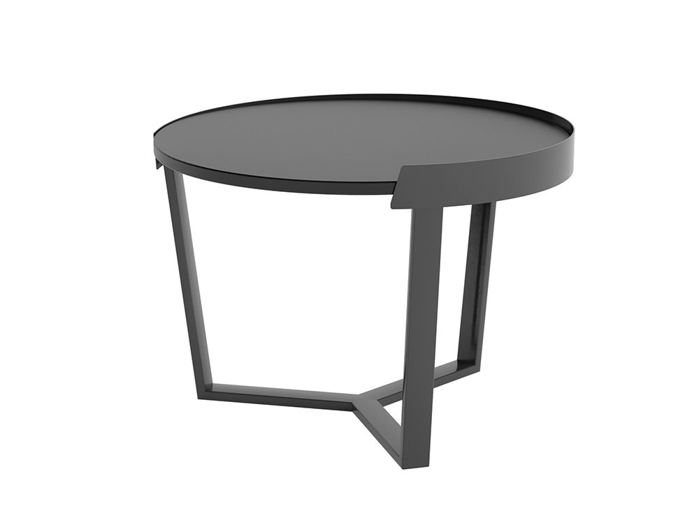 Margin High Coffee Table Metal Frame with Black Table Top