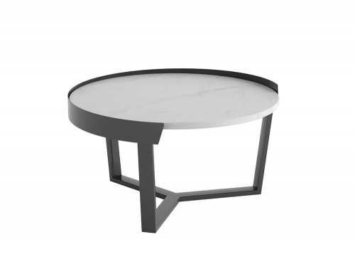Margin Low Coffee Table Metal Frame with White Table Top