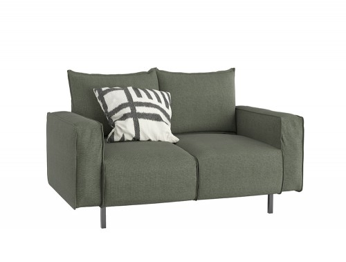 Snug Modern 2 Seater Sofa with Green Upholstered Finish and White Cushion