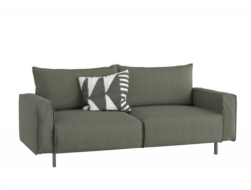 Snug Modern Sofa with Green Upholstered Finish and Black Metal Frame