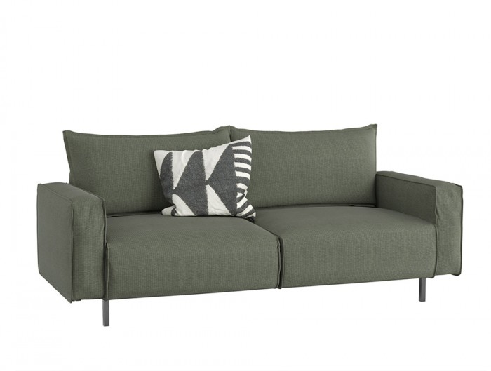 Snug Modern Sofa with Green Upholstered Finish and Black Metal Frame