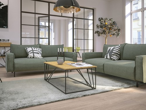 Snug Modern Sofa with Green Upholstered Finish and White Cushions