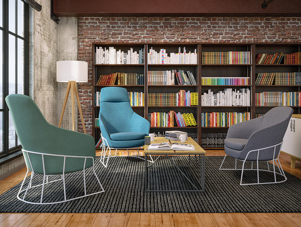 Drive Soft Seating Office Chairs with Yellow Upholstered Finish and Circular Metal Frame for Breakout Room