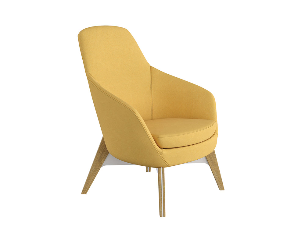Drive Soft Seating Office Chairs with Yellow Upholstered Finish and Four Wooden Legs