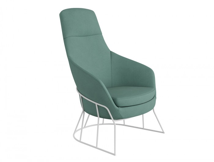 Drive Soft Seating Office High Back Chairs with Light Green Upholstered Finish and Circular Metal Frame