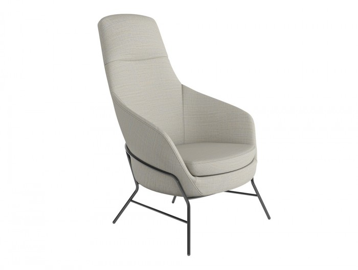 Drive Soft Seating Office High Back Chairs with White Upholstered Finish and Four Metal Legs